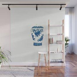 BLUE AND WHITE HEXAGONAL VASE 4 Wall Mural