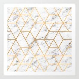 Marble & Gold Geo Lines Art Print