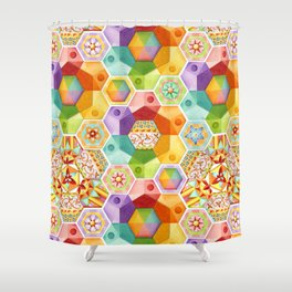 Circus Rainbow Hexagons Shower Curtain