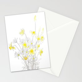 white daisy and yellow daffodils ink and watercolor Stationery Cards