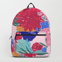 Cute Colorful Flowers Bouquet Hand Paint Backpack