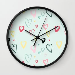 Doodle Hearts on pale blue Wall Clock
