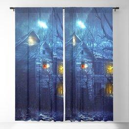 Creepy Haunted Halloween House At Full Moon Jack O Lantern Pumpkin Heads Cats And Bats Ultra HD Blackout Curtain