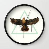 falcon Wall Clocks featuring Falcon by Amy Hamilton