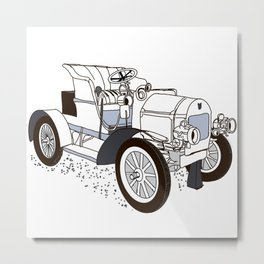 retro car painted in black and white color Metal Print