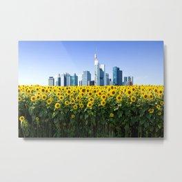 Frankfurt Germany Skyline Sunflower Field Metal Print