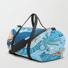 Quirky Mermaid with Sea Friends, Blue version Duffle Bag