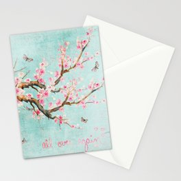 Its All Over Again - Romantic Spring Cherry Blossom Butterfly Illustration on Teal Watercolor Stationery Cards