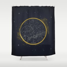 Vintage Cosmos: Star Map Shower Curtain
