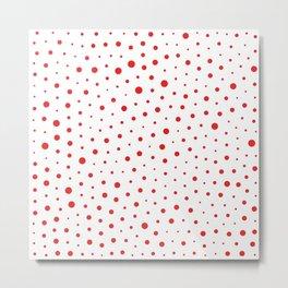 Elegant Modern Polka Dots -Red- Metal Print
