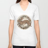 rabbit V-neck T-shirts featuring Rabbit by Jessica Roux