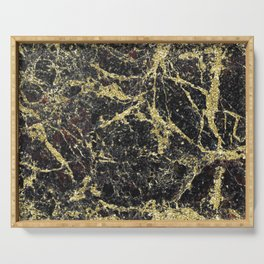 Marble - Glittery Gold Marble on Black Design Serving Tray