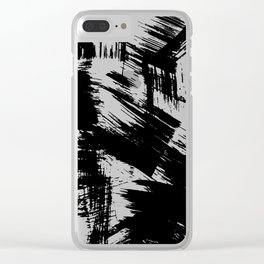 Modern black white watercolor brushstrokes pattern Clear iPhone Case