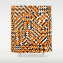 Orange Navy Color Overlay Irregular Geometric Blocks Square Quilt Pattern by samolevsky