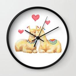 Llamas in llove 2 Wall Clock