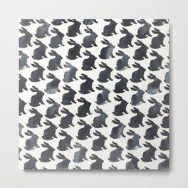 Rabbit Chalkboard Pattern by Robayre Metal Print