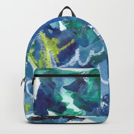 Blue Abstract Mixed-Media: Water Backpack