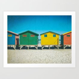 Surf Shacks in Cape Town, South Africa Art Print