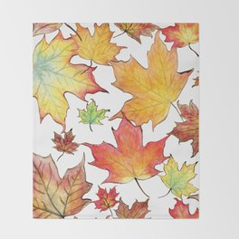 Autumn Maple Leaves Throw Blanket