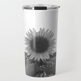Her Sunflower (Black and White) Travel Mug
