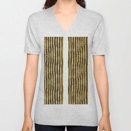 Zen Stripe Block Print Mustard Unisex V-Neck