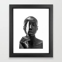 White Feather Framed Art Print