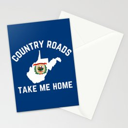 West Virginia Map State Flag Country Roads Take Me Home Stationery Cards