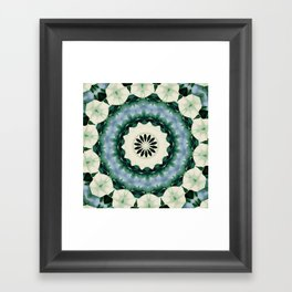 Cerulean Blue and Sacramento Green Mandala Framed Art Print