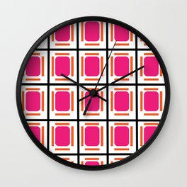 Pink Organs Black Checked and Lined Pattern Retro Wall Clock