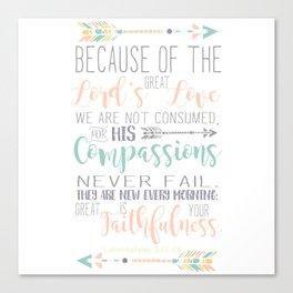 Handwritten Pastels Lamentations 3:22-23 Bible Verse Canvas Print