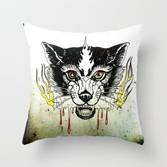 Space Cat King Fire Throw Pillow