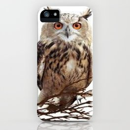 WILDERNESS BROWN OWL IN WHITE iPhone Case