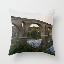 Medieval Bridge - Puente la Reina, Camino to Santiago de Compostela Throw Pillow