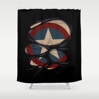captain hook Shower Curtains featuring CAPTAIN by karakalemustadi