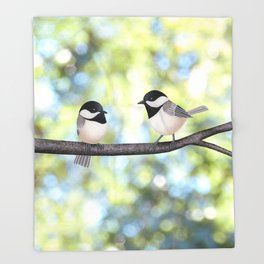 2 black-capped chickadees - bokeh Throw Blanket
