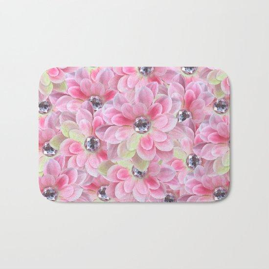 Shocking Pink Flora Gems Bath Mat