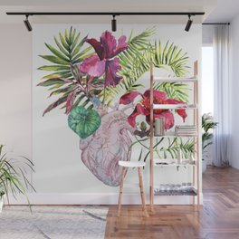 Human heart with flowers, plant and leaf, watercolor Wall Mural