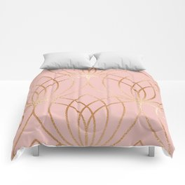 Rose gold millennial pink blooms Comforters