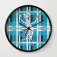zebra Wall Clocks featuring Zebra  by mailboxdisco