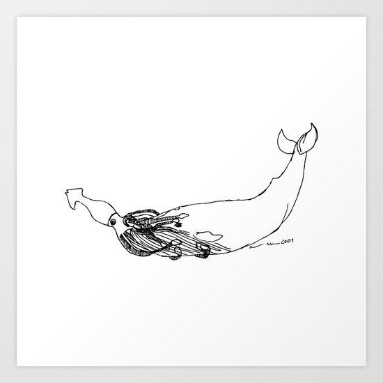 Squid Vs. Whale Art Print