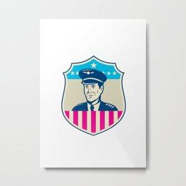 American Airline Pilot Aviator USA Flag Shield Retro Metal Print