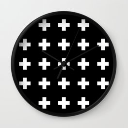 Swiss Cross Black Wall Clock