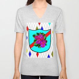 A Stained Glass Shield with Roses and Red Ribbon Unisex V-Neck