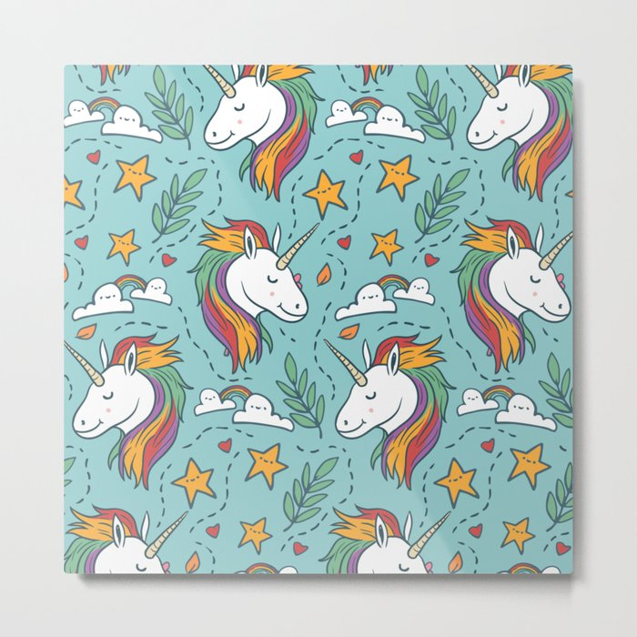 Magical Unicorn Pattern on turquoise background Metal Print