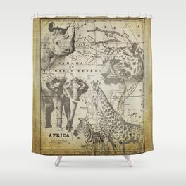 Out of Africa vintage wildlife art Shower Curtain