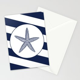 Nautical Starfish Navy Blue & White Stripes Beach Stationery Cards