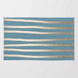 Abstract Drawn Stripes Gold Tropical Ocean Blue Rug