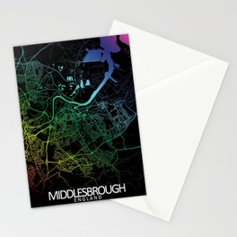 Middlesbrough,England, City, Map, Rainbow, Map, Art, Print Stationery Cards