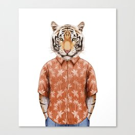 Portrait of Tiger in summer shirt. Canvas Print