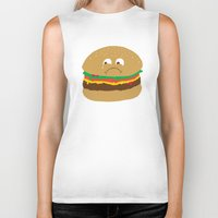 hamburger Biker Tanks featuring Sad Hamburger by Chris Piascik